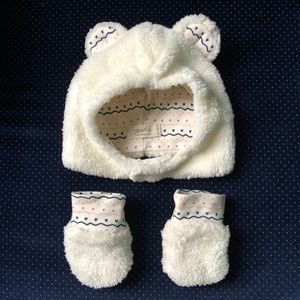 6/$45 💖 Baby Girl Cozy Hat and Mittens Set